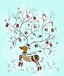 Illustration of reindeer with antlers against over colored background