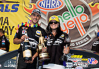 Jul. 28, 2013; Sonoma, CA, USA: NHRA pro stock driver Vincent Nobile celebrates with girlfriend after winning the Sonoma Nationals at Sonoma Raceway. Mandatory Credit: Mark J. Rebilas-
