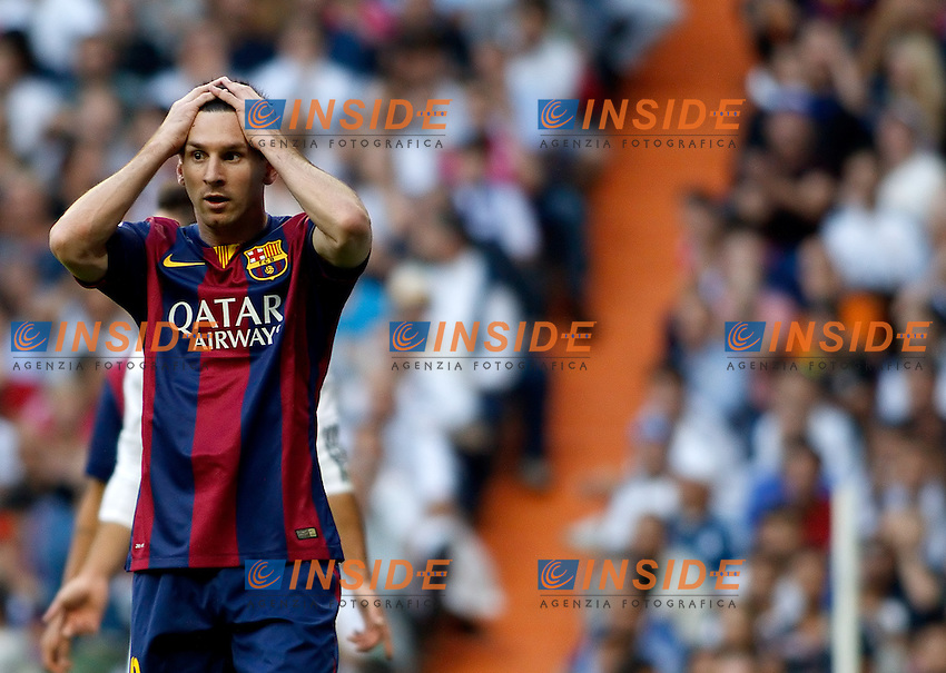 &quot;Spanish  League&quot;- match Real Madrid Vs FC Barcelona- season 2014-15 - Santiago Bernabeu Stadium - Lionel Messi (FC Barcelona) laments a missed opportunity during the Spanish League match against Real Madrid(Photo: Guillermo Martinez/Bouza Press/ALTERPHOTOS) <br /> Clasico<br /> Foto Insidefoto
