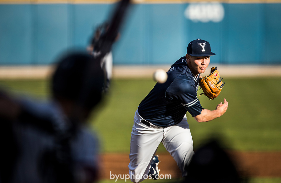 _E2_2571<br /> <br /> 17BSB vs New Mexico State<br /> <br /> BYU- 6<br /> NMS- 8<br /> <br /> March 14, 2017<br /> <br /> Photography by Nate Edwards/BYU<br /> <br /> © BYU PHOTO 2016<br /> All Rights Reserved<br /> photo@byu.edu  (801)422-7322