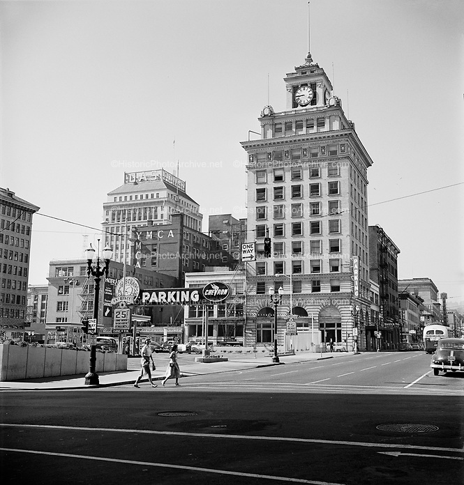 9969-530716-01. Jackson Tower, SW Broadway looking south from Morrison, Meier & Frank Parking lot when new. July 16, 1953