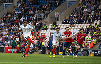 Marcus Rashford (Manchester United) of England scores his hat trick from the penalty spot during the International EURO U21 QUALIFYING - GROUP 9 match between England U21 and Norway U21 at the Weston Homes Community Stadium, Colchester, England on 6 September 2016. Photo by Andy Rowland / PRiME Media Images.