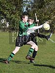 Albion Rovers Thomas McKenna  Square United Patrick Svender. Photo:Colin Bell/pressphotos.ie