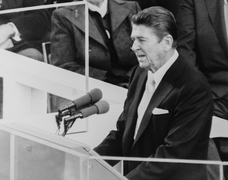 President Ronald Reagan giving a speech for his first inaguration in 1981. (Photo by CQ Roll Call via Getty Images)