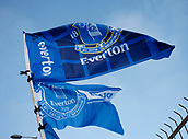 2nd December 2017, Goodison Park, Liverpool, England; EPL Premier League football, Everton versus Huddersfield Town; Blue Everton flags outside the ground set against a clear blue sky