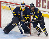 Collin Delia (Merrimack - 1), Jared Kolquist (Merrimack - 15) - The visiting Merrimack College Warriors defeated the Boston College Eagles 6 - 3 (EN) on Friday, February 10, 2017, at Kelley Rink in Conte Forum in Chestnut Hill, Massachusetts.