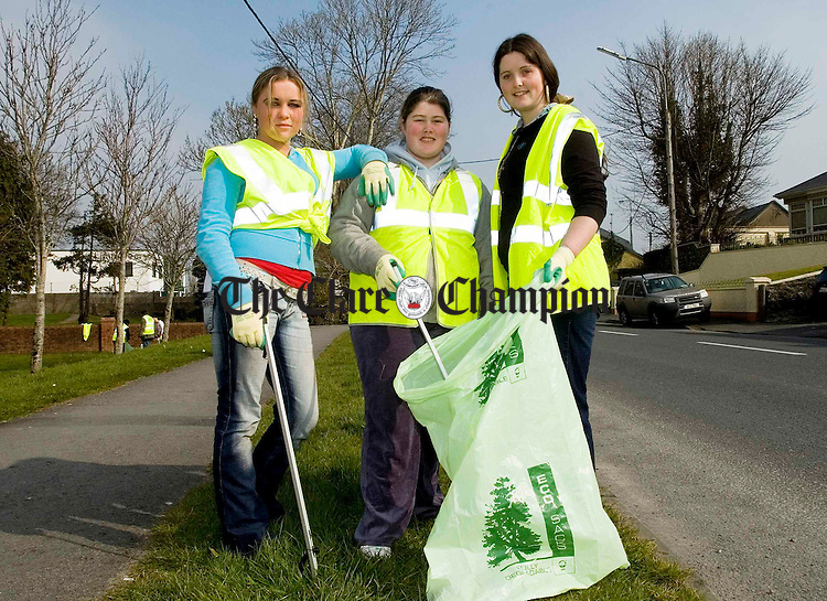 Members of Ennis Youth Centre, (l-r) Barbara Donovan, Roseanne Keenan and Julie Delaney, get busy tidying up on the Kilrush road.Pic Arthur Ellis.