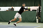 WINSTON-SALEM, NC - JANUARY 23: Wake Forest's Alan Gadjiev (UZB). The Wake Forest University Demon Deacons hosted Coastal Carolina University on January 23, 2018 at Wake Forest Tennis Complex in Winston-Salem, NC in a Division I College Men's Tennis match. Wake Forest won the match 6-1.