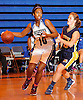 Mikaiya Moore #10 of Copiague, left, gets pressured by Brenna Farrington #40 of Northport during a Suffolk County League II varsity girls' basketball game at Copiague High School on Thursday, Jan. 28, 2016. Moore recorded a game-high 30 points along with 10 assists and five blocks in Copiague's 59-52 win.