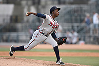 Pitcher Bladimir Matos (45) of the Rome Braves delivers a pitch in a game against the Columbia Fireflies on Sunday, July 2, 2017, at Spirit Communications Park in Columbia, South Carolina. Columbia won, 3-2. (Tom Priddy/Four Seam Images)
