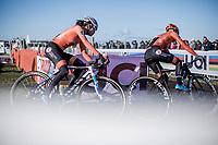 Ceylin Del Carmen Alvarado (NED) and Inge Van der Heijden (NED) cornering.<br /> <br /> Women U23 race.<br /> <br /> UCI 2019 Cyclocross World Championships<br /> Bogense / Denmark<br /> <br /> &copy;kramon