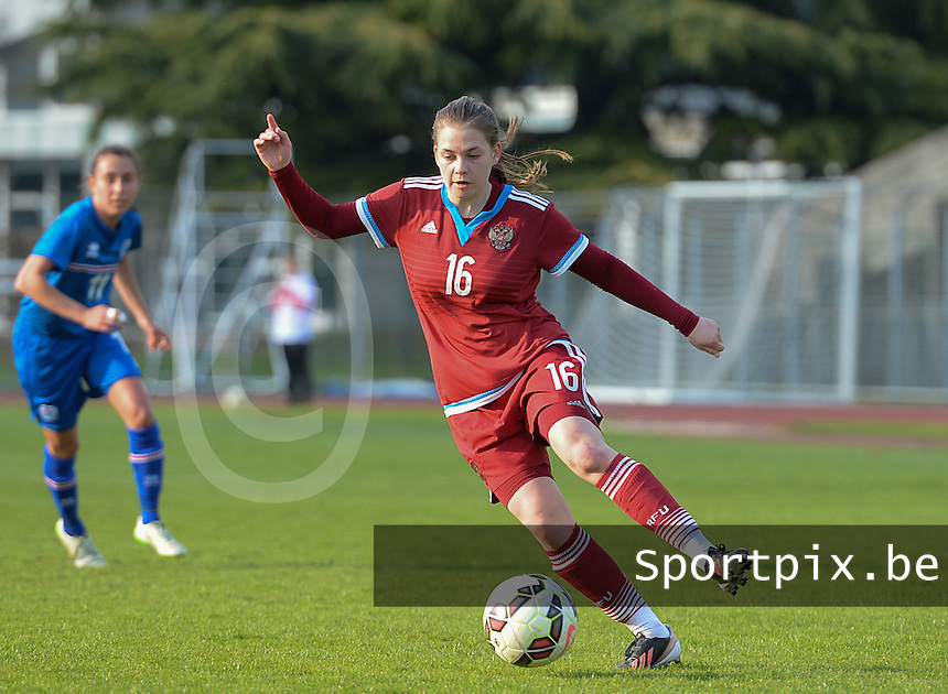 20150406 - MELUN , FRANCE  : Russian Ksenia Shakhova pictured during the soccer match between Women Under 19 teams of Iceland and Russia , on the second matchday in group 3 of the UEFA Elite Round Women Under 19 at Stade Municipal , Melun , France . Monday 6th April 2015 . PHOTO DAVID CATRY