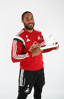 Wednesday 06 May 2015<br /> Pictured: Ashley Williams with his award<br /> Re: Swansea City FC new Adidas kit at Fairwood Training Gorund.