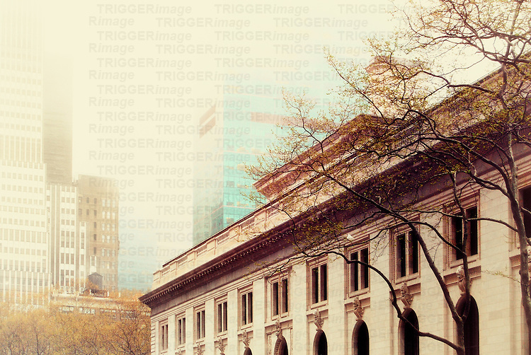 The New York Public Library/Astor Hall at Bryant Park on a foggy spring afternoon.