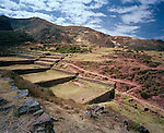 Peru, South America, southern hemisphere, Peruvian, Inca, Incan ruins, terraces, engineering, irrigation, vista, landscape, horizontal, one person, agriculture, Andean, Andes, site, visit, tourism, open space