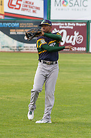 Beloit Snappers outfielder James Harris (2) warms up prior to a Midwest League game against the Wisconsin Timber Rattlers on May 30th, 2015 at Fox Cities Stadium in Appleton, Wisconsin. Wisconsin defeated Beloit 5-3 in the completion of a game originally started on May 29th before being suspended by rain with the score tied 3-3 in the sixth inning. (Brad Krause/Four Seam Images)