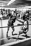 USA, Oahu, Hawaii, MMA Mixed Martial Arts Ultimate fighter Lowen Tynanes trains and spars at his gym in Honolulu, B&W