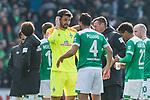 13.04.2019, Weserstadion, Bremen, GER, 1.FBL, Werder Bremen vs SC Freiburg<br /> <br /> DFL REGULATIONS PROHIBIT ANY USE OF PHOTOGRAPHS AS IMAGE SEQUENCES AND/OR QUASI-VIDEO.<br /> <br /> im Bild / picture shows<br /> Siegjubel, Stefanos Kapino (Werder Bremen #27), Claudio Pizarro (Werder Bremen #04), <br /> <br /> Foto &copy; nordphoto / Ewert