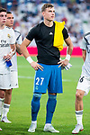 Real Madrid Andriy Lunin during Santiago Bernabeu Trophy match at Santiago Bernabeu Stadium in Madrid, Spain. August 11, 2018. (ALTERPHOTOS/Borja B.Hojas)