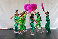 Girls dancing Chinese Sun Dance, Northwest Folklife Festival 2016, Seattle Center, Washington, USA.