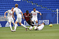 4th July 2020; Lyon, France; French League 1 friendly due to the Covid-19 pandemic forced league ending;  Joachim Andersen (lyon) tackled by Jean-Victor Makenko (nice)