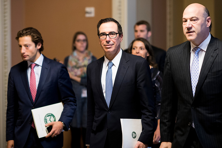 UNITED STATES - APRIL 25: Treasury Secretary Steven Mnuchin leaves a meeting on tax reform in Senate Majority Leader Mitch McConnell's office in the Capitol on Tuesday, April 25, 2017. (Photo By Bill Clark/CQ Roll Call)