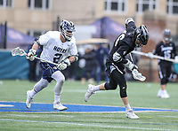 Washington, DC - April 7, 2018: Providence Friars Alex George (46) wins the faceoff during game between Providence and Georgetown at  Cooper Field in Washington, DC.   (Photo by Elliott Brown/Media Images International)
