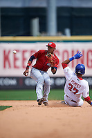 Columbus Clippers shortstop Erik Gonzalez (2) waits for a throw as Dalton Pompey (37) slides in during a game against the Buffalo Bisons on July 19, 2015 at Coca-Cola Field in Buffalo, New York.  Buffalo defeated Columbus 4-3 in twelve innings.  (Mike Janes/Four Seam Images)