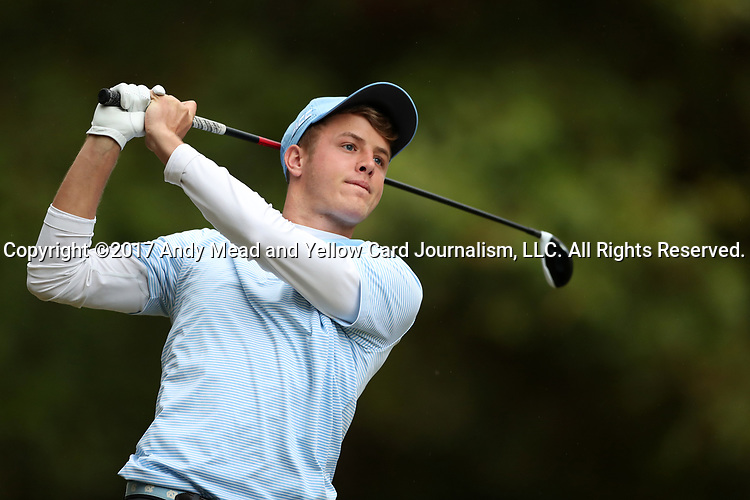 GREENSBORO, NC - OCTOBER 29: UNC's William Register on the 4th tee. The third round of the UNCG/Grandover Collegiate Men's Golf Tournament was held on October 29, 2017, at the Grandover Resort East Course in Greensboro, NC.