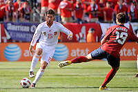 Sergio Ramos (15) of Spain and Robbie Rogers (19) of the United States. The men's national team of Spain (ESP) defeated the United States (USA) 4-0 during a International friendly at Gillette Stadium in Foxborough, MA, on June 04, 2011.