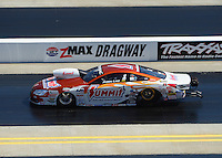 Apr. 14, 2012; Concord, NC, USA: NHRA pro stock driver Jason Line during qualifying for the Four Wide Nationals at zMax Dragway. Mandatory Credit: Mark J. Rebilas-