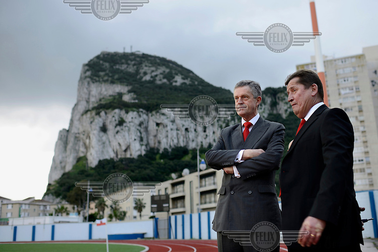 Vice Admiral Sir Adrian James Johns (left), Governor of Gibraltar, arrives at the Victoria Stadium before an under-17 football match against Northern Ireland. Although the United Nations doesn't recognise Gibraltar as an independent country, UEFA has recognised it and has granted the British Overseas Territory full UEFA membership.