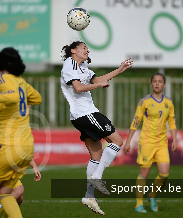 20140407 - BRUSSELS , BELGIUM : German Manjou Wilde pictured during the female soccer match between GERMANY U19 and UKRAINE U19 , in the second game of the Elite round in group 4 in the UEFA European Women's Under 19 competition 2014 in the Edmond Machtens Stadion , Monday 7 April 2014 in Brussels . PHOTO DAVID CATRY
