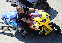 Sept. 29, 2012; Madison, IL, USA: NHRA pro stock motorcycle rider Scotty Pollacheck during qualifying for the Midwest Nationals at Gateway Motorsports Park. Mandatory Credit: Mark J. Rebilas-