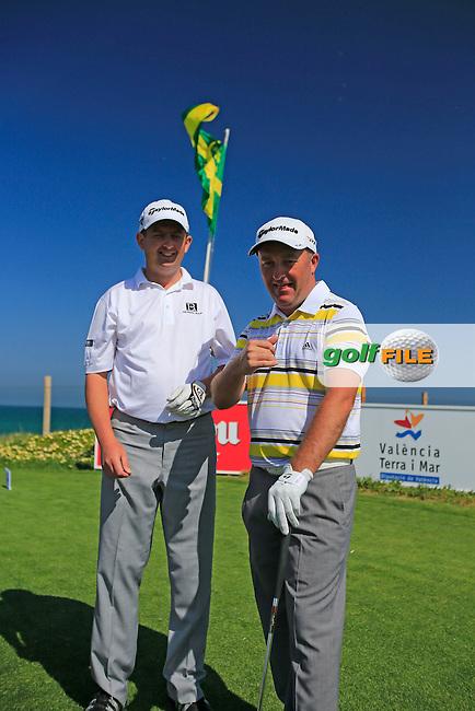 Damien McGrane and Peter Lawrie (IRL) wait on the 9th tee during Wednesday's Pro-Am of the 2013 Open de Espana at Campo de Golf Parador de El Saler. 17th April 2013..Picture: Eoin Clarke www.golffile.ie.