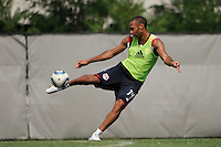 New York Red Bulls Thierry Henry (14) kicks a ball around at the end of a New York Red Bulls practice on the campus of Montclair State University in Upper Montclair, NJ, on July 16, 2010.