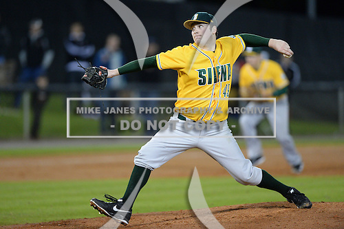 Siena Saints pitcher Matt Gage (49) during the season opening game against the Central Florida Knights at Jay Bergman Field on February 14, 2014 in Orlando, Florida.  UCF defeated Siena 8-1.  (Copyright Mike Janes Photography)