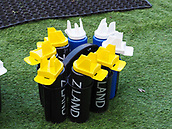 4th November 2017, Welford Road, Leicester, England; Anglo-Welsh Cup, Leicester Tigers versus Gloucester;  Water bottles standing pitch-side awaiting the start of the game