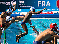 Team FRA France  <br /> FRA (white cap) -  AUS (blue cap)<br /> Preliminary Round Water Polo Women<br /> Day06  19/07/2017 <br /> XVII FINA World Championships Aquatics<br /> Alfred Hajos Complex Margaret Island  <br /> Budapest Hungary <br /> Photo @ Deepbluemedia/Insidefoto