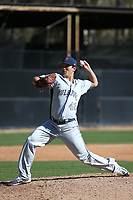 Fred Schlichtholz (42) of the Fresno State Bulldogs pitches against the Pepperdine Waves at Eddy D. Field Stadium on March 7, 2017 in Los Angeles, California. Pepperdine defeated Fresno State, 8-7. (Larry Goren/Four Seam Images)
