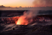Halemaumau Crater erupting at sunrise. Hawai'i Volcanoes National Park, HI