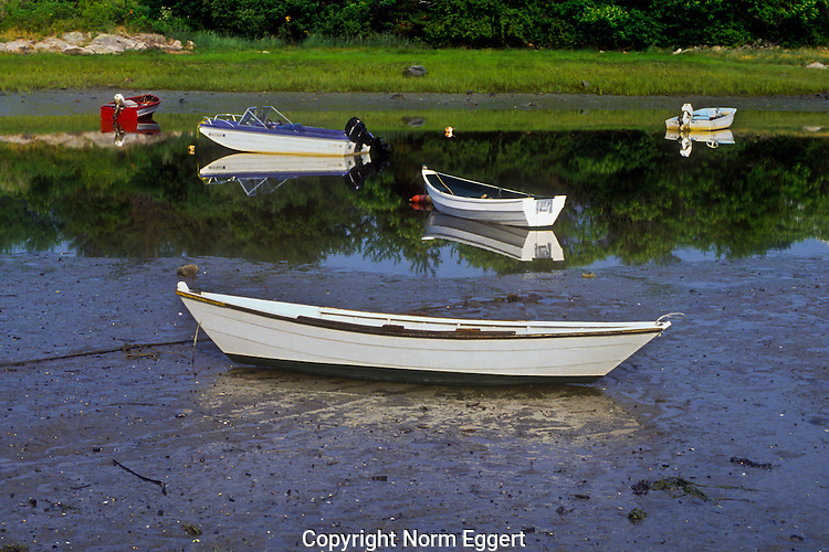 Boats moored at Ogunquit Harbor, Maine