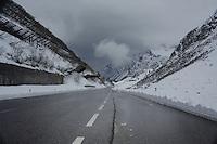 Low cloud over wet mountain road in the Austrian alps. ST Anton, Tyrol, Tirol, Austria.