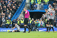 Referee Mr Kevin Friend points to the spot as he awards a penalty to Chelsea during the Premier League match between Chelsea and Newcastle United at Stamford Bridge, London, England on 2 December 2017. Photo by David Horn.
