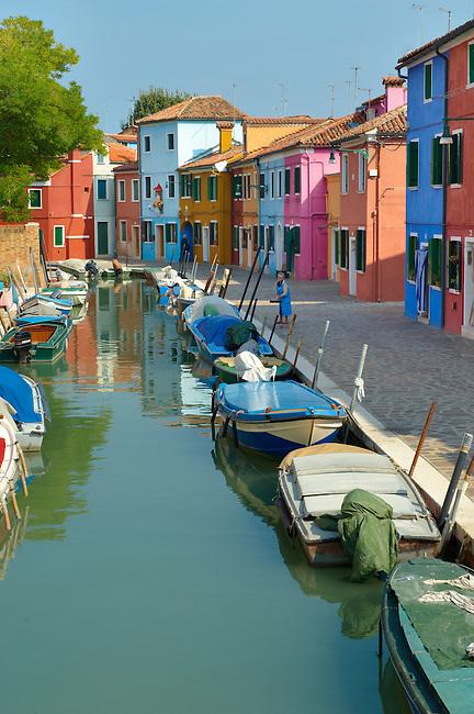 Colorful houses, Fondementi Pontinella Destro, Burano Venice Italy The traditional colourful houses of Burano Island, Venice Lagoon, Italy