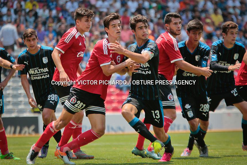 Querétaro, Qro. 25 mayo 2016.- El equipo de los Gallos Blancos de Querétaro venció por la minima diferencia al equipo de xolos en el partido de la Final de Ida celebrado en el estadio La Corregidora de Querétaro.