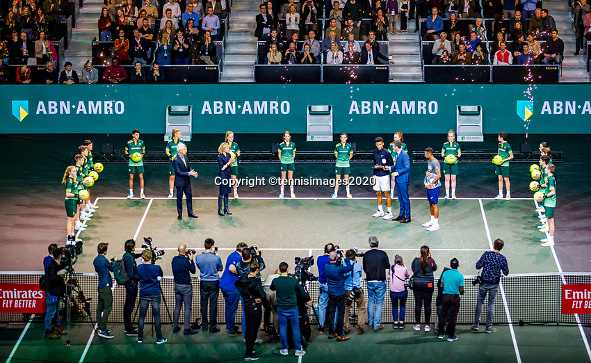 Rotterdam, The Netherlands, 16 Februari 2020, ABNAMRO World Tennis Tournament, Ahoy,<br /> Mens Single Final: Prizegiving<br /> Photo: www.tennisimages.com