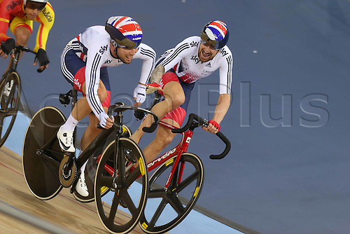 06.03.2016. Lee Valley Velo Centre, London England. UCI Track Cycling World Championships Mens Madison.  Winners and gold medalists Great Britain WIGGINS Bradley and CAVENDISH Mark