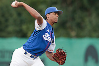 27 july 2010: Arold Castillo of France pitches against Germany during Germany 10-9 victory over France, in day 5 of the 2010 European Championship Seniors, in Stuttgart, Germany.