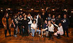 "Sean Green Jr. with student performers during the ""Hamilton"" eduHAM Student Matinee Q & A  at the Richard Rodgers Theatre on February 13, 2019 in New York City."